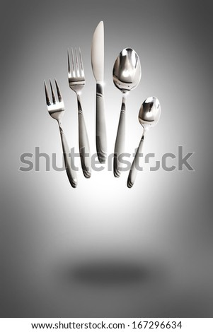 Knife, fork and spoon - stock photo