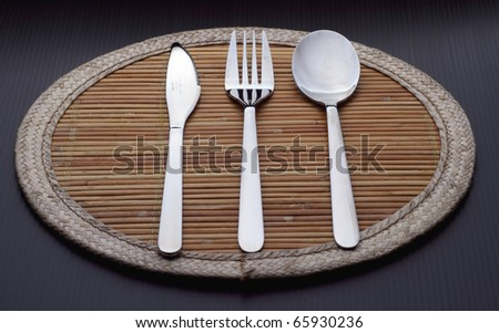 Knife, Fork, and Spoon - stock photo
