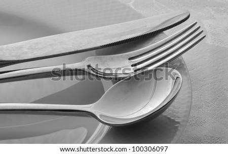 Knife, Fork, Spoon on White Plate in Black and White