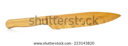 Knife in bamboo wood isolated on white background.