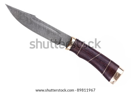 Knife made of Damascus steel with a wooden handle on a white background - stock photo