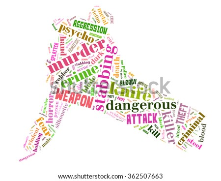 Knife murder, word cloud concept on white background.