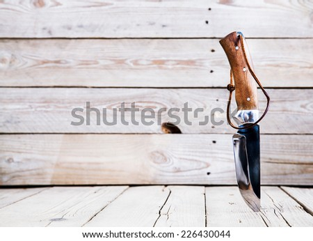Knife on wooden table with copy space - stock photo