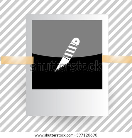 knife. Photoframe. Raster icon. - stock photo