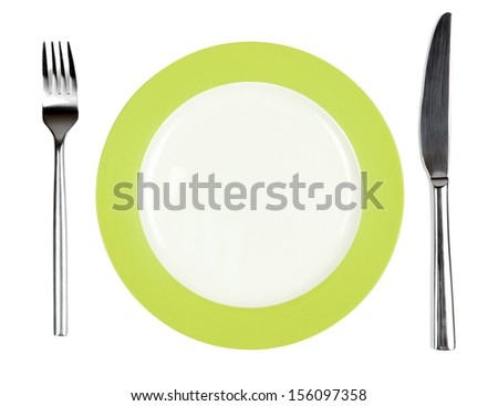 Knife, white plate and fork, isolated on white  - stock photo