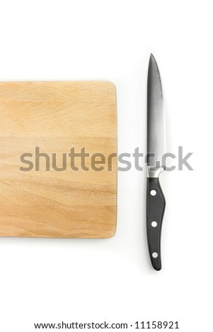 Knife with wooden chopping board