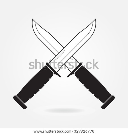 Knifes icon. Two crossed metallic military or army knives on gray background.  - stock photo