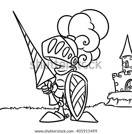 knight castle coloring pages cartoon illustration middle ages