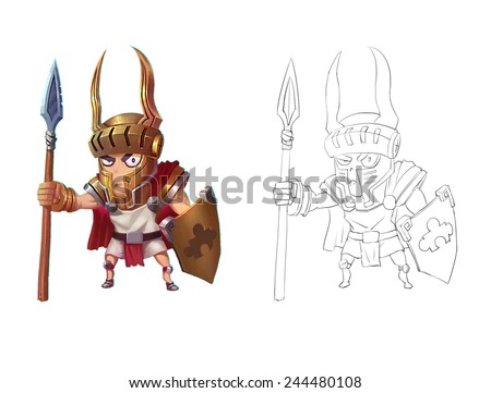 Knight - Character Design for children - stock photo
