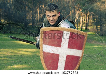 Knight holding sword in a forest - stock photo