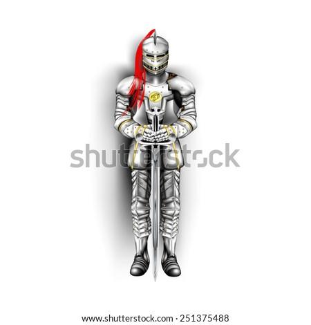 knight illustration - stock photo