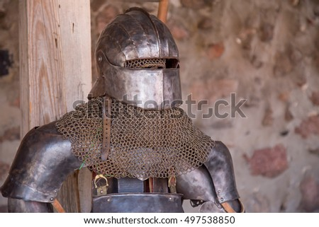 Knight in armor. Medieval time warrior