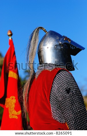 Knight in armor with its coat of arms during an historic event in Cremieu (Isere / France)