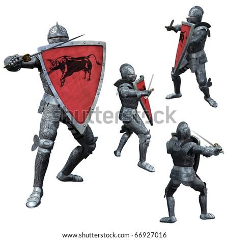 Knight in Full Armour, 3D render in multiple poses - stock photo