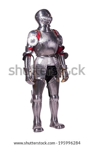 Knight in metal armor - stock photo