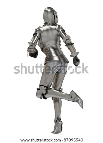 knight metal lady running back side view