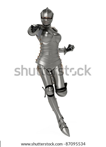 knight metal lady super pose