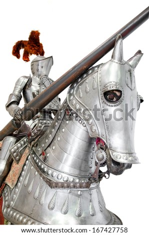 Knight on warhorse on white isolated background - stock photo