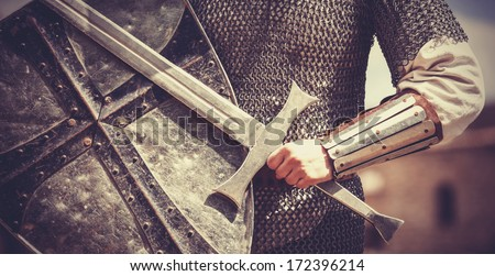 Knight. Photo in vintage style. - stock photo