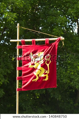 Knight's flag golden lion on a red background - stock photo