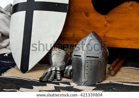 Knight's helmet medieval battle tournament history - stock photo