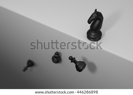 Knight stop at cliff but pawn fail down business concept 3d render - stock photo