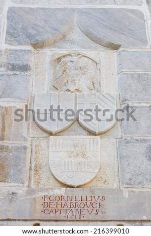 Knight Symbols in Bodrum Castle, Mugla, Turkey - stock photo