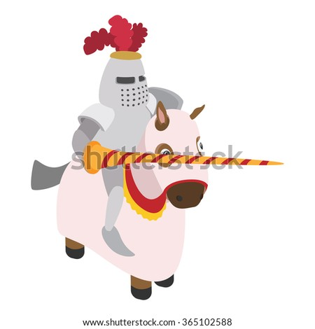 Knight with spear and horse cartoon character on a white background - stock photo