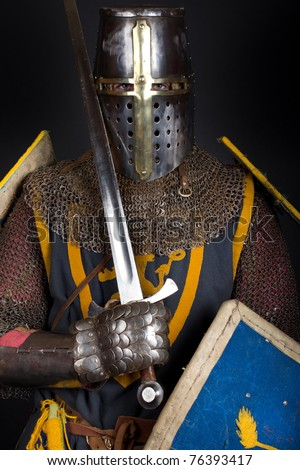 knight with sword and shield - stock photo