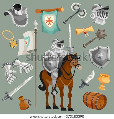 Knights Cartoon Set - stock photo