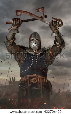 Knights holds sword and axe in battlefield.