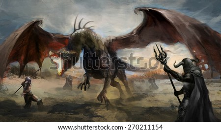 knights hunting black dragon on field - stock photo