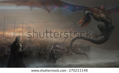 knights hunting dragon on field - stock photo