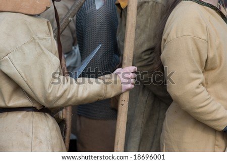 Knights in castle. Ivangorod. Russia - stock photo