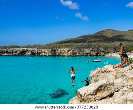 Knip Beach - On the Caribbean Island of Curacao in the Dutch Antilles - stock photo