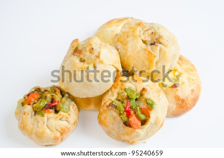 Knishes with vegetables, potato/onion and cheese/scallions  - Jewish pastry