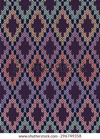 Knit woolen seamless jacquard ornament texture. Fabric color tracery background - stock photo