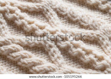 Knit woolen texture. Fabric beige background