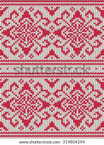 Knitted background pattern with wool sweater texture. Retro textile winter fabric fashion design ornament. Retro decoration illustration. Beige, red, white colors. - stock photo