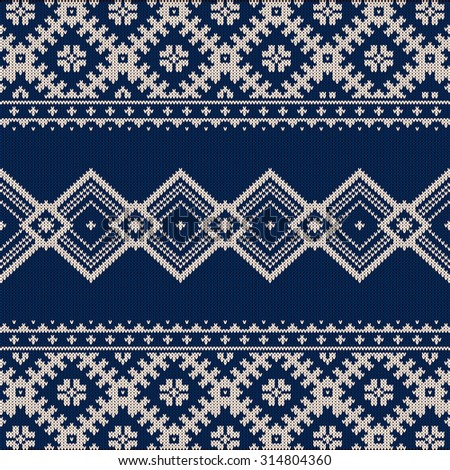 Knitted background pattern with wool sweater texture. Retro textile winter fabric fashion design ornament. Retro decoration illustration. Beige, blue colors. - stock photo