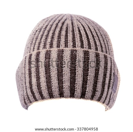 knitted beanie  isolated on white background . - stock photo