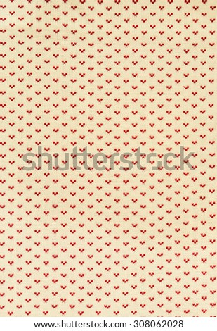 Knitted Beige Texture with Red Stitches Pattern on Warm Faded Colors  Background. Toned vintage effect in the middle - stock photo