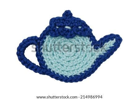 Knitted blue teapot - stock photo