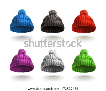 Knitted cap icon set, bitmap copy - stock photo