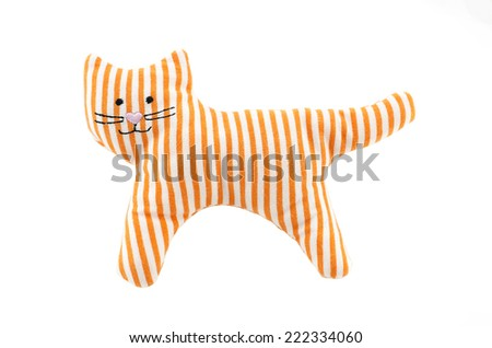 knitted cat toy for small children on a white background - stock photo