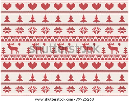 knitted christmas pattern with deers, illustration - stock photo