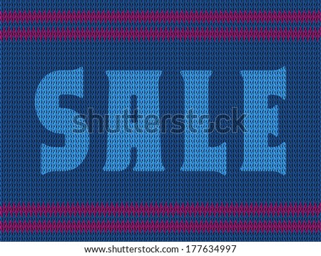 "Knitted fabric texture in blue with purple stripes and the inscription ""Sale"""