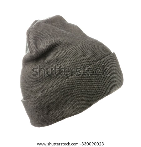 knitted hat isolated on white background .