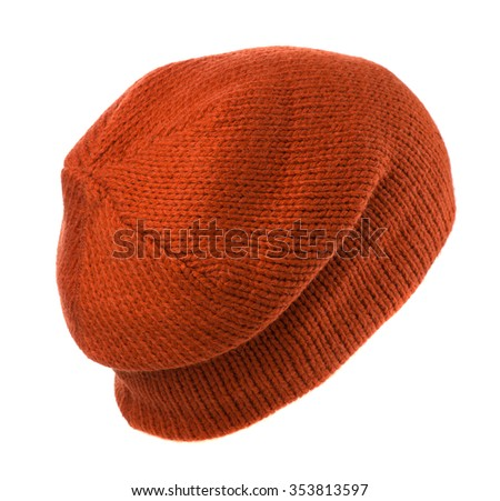 knitted hat isolated on white background .orange .