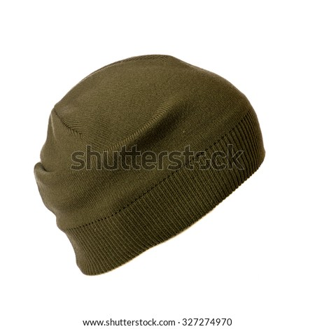 knitted hat isolated on white background . side view